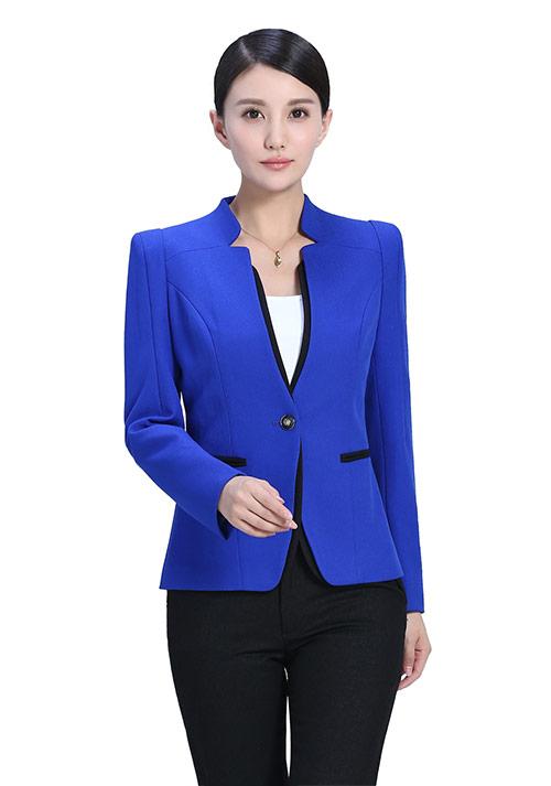 蓝色立领拼色女士职业装