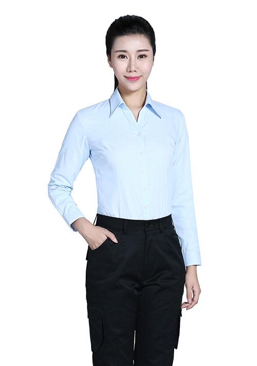 淡蓝V领衬衫定制