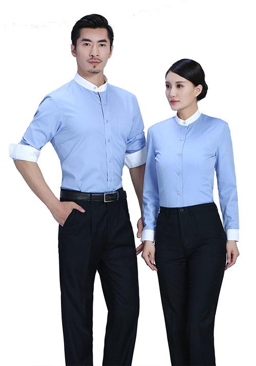 蓝色立领衬衫定做