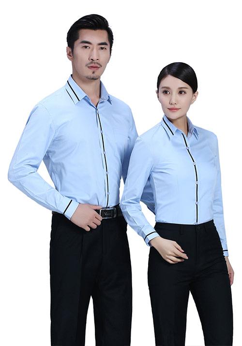 蓝色黑色拼条衬衫