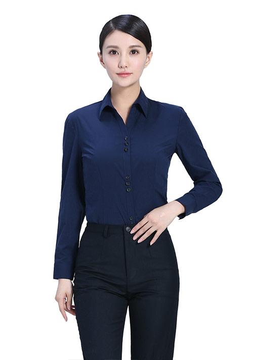 藏蓝色立领衬衫