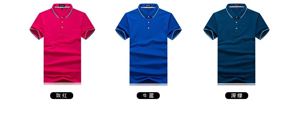 新款黑色Polo衫莱赛尔珠地短袖T恤